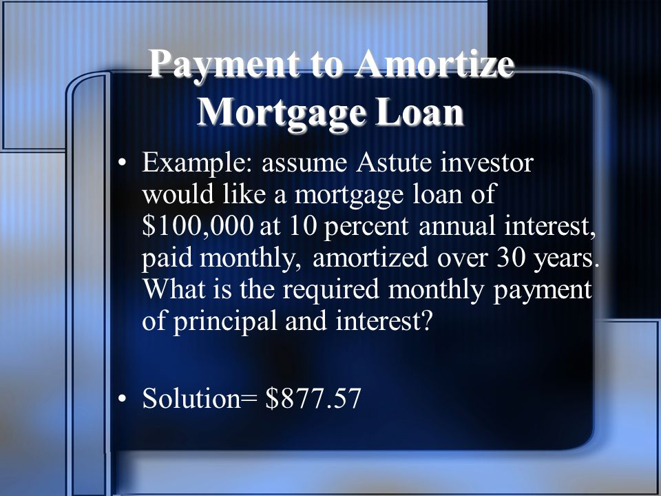 Payment to Amortize Mortgage Loan Example: assume Astute investor would like a mortgage loan of $100,000 at 10 percent annual interest, paid monthly, amortized over 30 years.