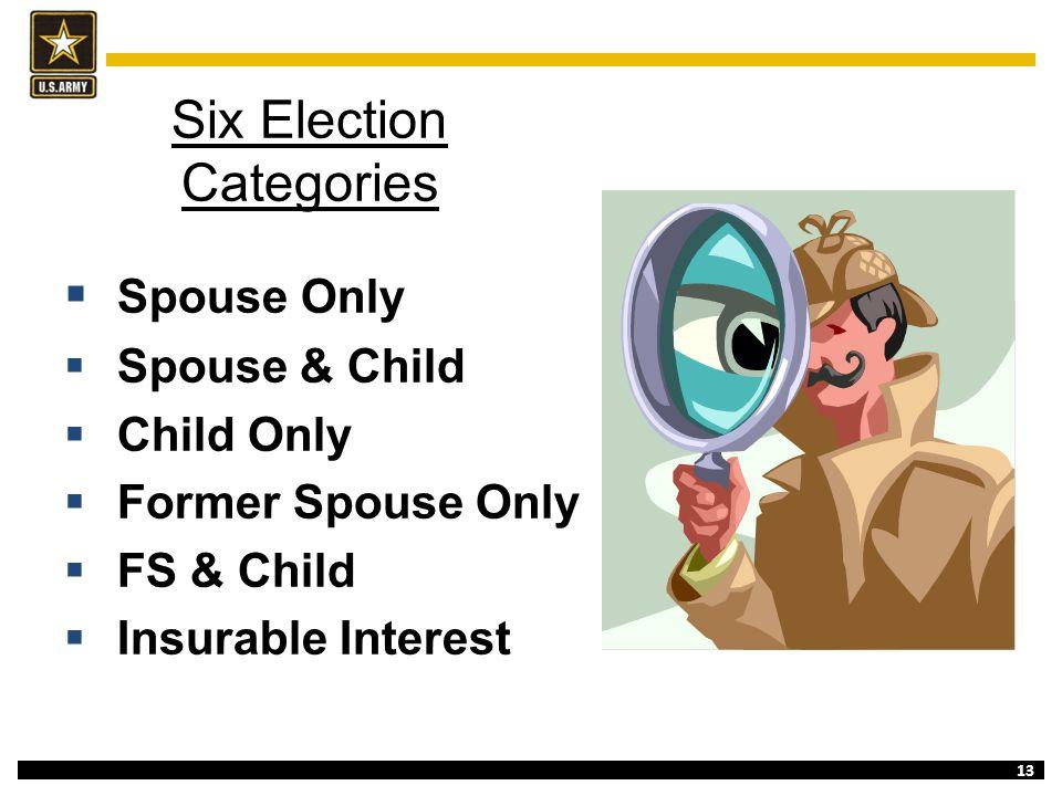 13 Six Election Categories  Spouse Only  Spouse & Child  Child Only  Former Spouse Only  FS & Child  Insurable Interest