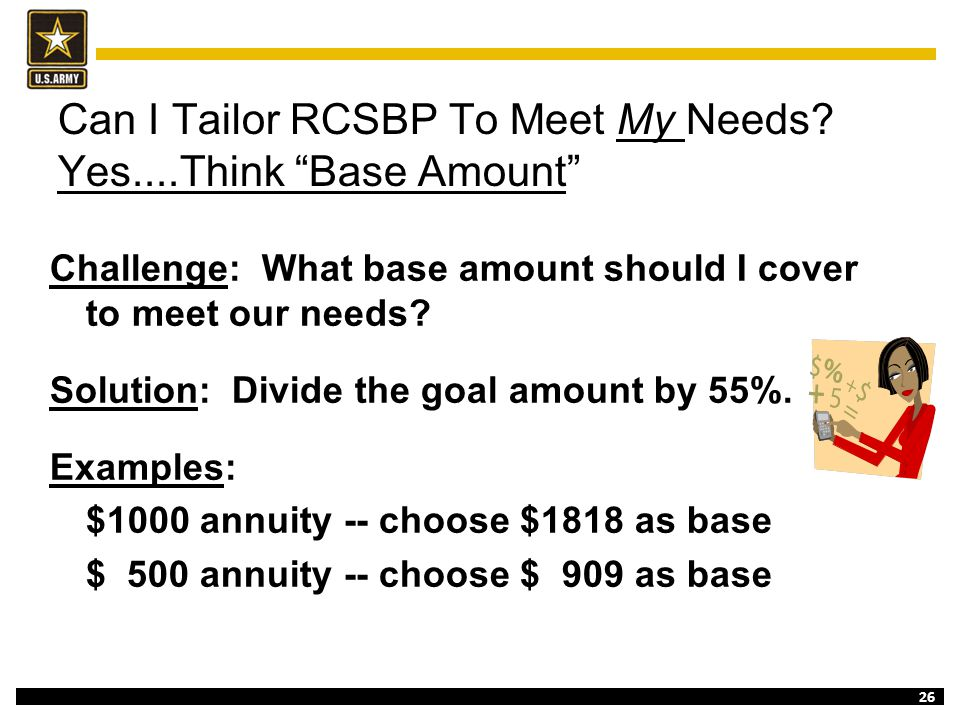 """26 Can I Tailor RCSBP To Meet My Needs? Yes....Think """"Base Amount"""" Challenge: What base amount should I cover to meet our needs? Solution: Divide the"""