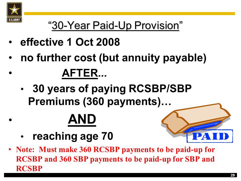 """29 """"30-Year Paid-Up Provision"""" effective 1 Oct 2008 no further cost (but annuity payable) AFTER... 30 years of paying RCSBP/SBP Premiums (360 payments"""