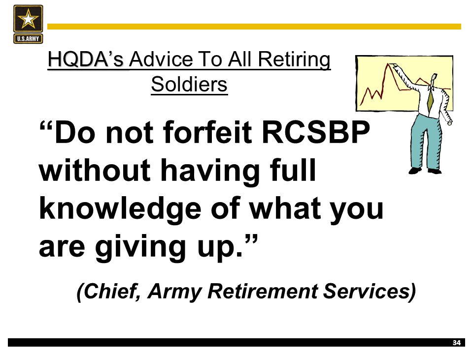"""34 HQDA's HQDA's Advice To All Retiring Soldiers """"Do not forfeit RCSBP without having full knowledge of what you are giving up."""" (Chief, Army Retireme"""