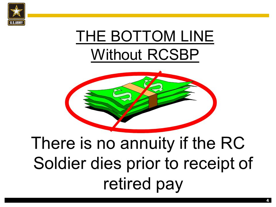 4 THE BOTTOM LINE Without RCSBP There is no annuity if the RC Soldier dies prior to receipt of retired pay