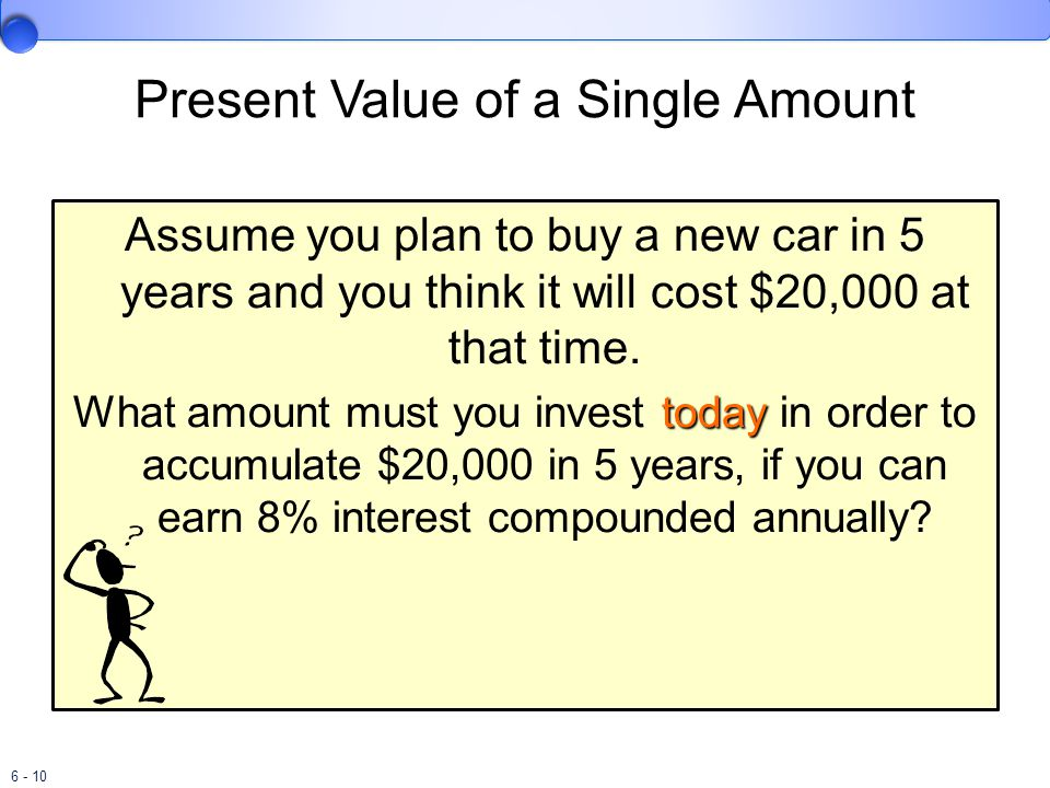6 - 10 Present Value of a Single Amount Assume you plan to buy a new car in 5 years and you think it will cost $20,000 at that time.
