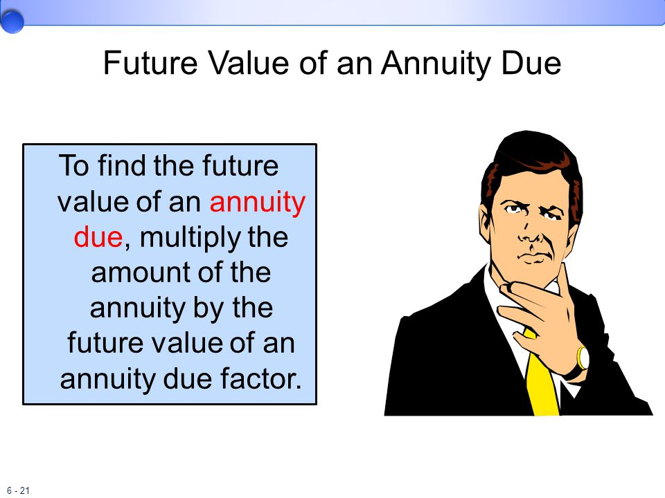 6 - 21 Future Value of an Annuity Due To find the future value of an annuity due, multiply the amount of the annuity by the future value of an annuity due factor.