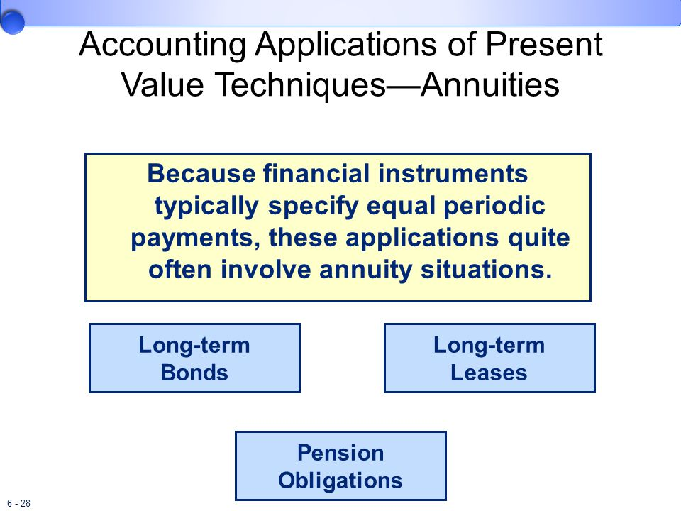 6 - 28 Accounting Applications of Present Value Techniques—Annuities Because financial instruments typically specify equal periodic payments, these applications quite often involve annuity situations.