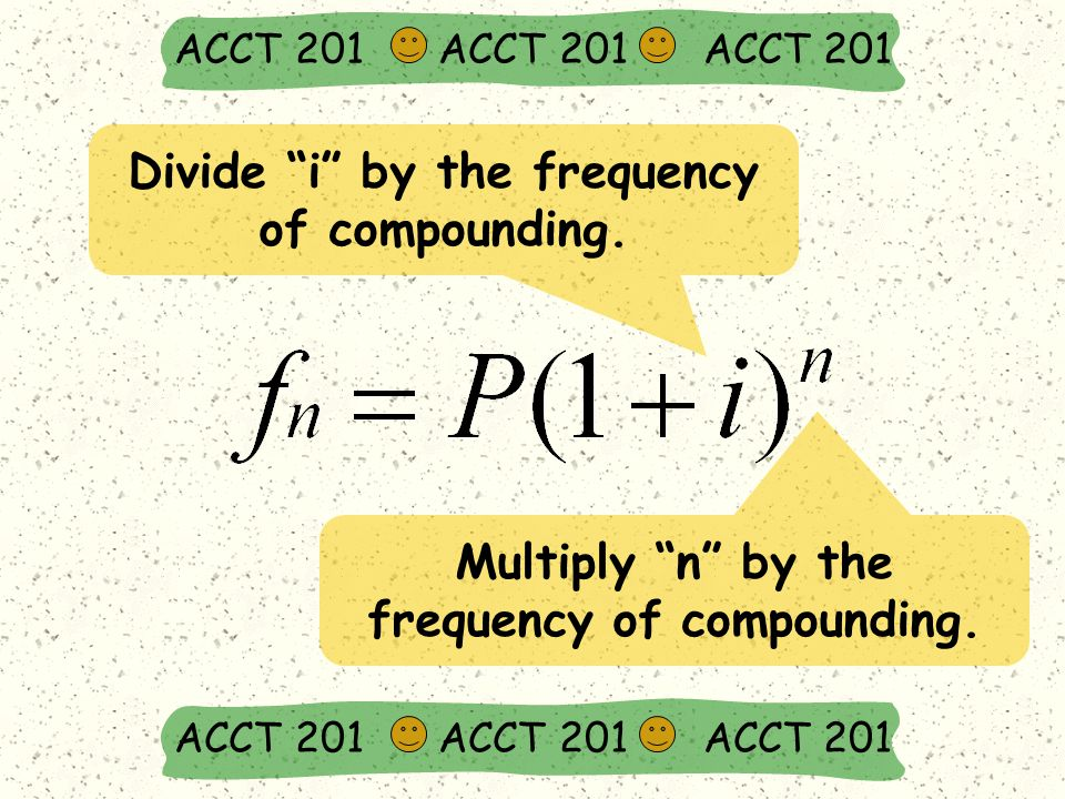 ACCT 201 ACCT 201 ACCT 201 Divide i by the frequency of compounding.