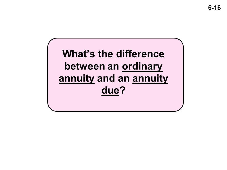 6-16 What's the difference between an ordinary annuity and an annuity due?