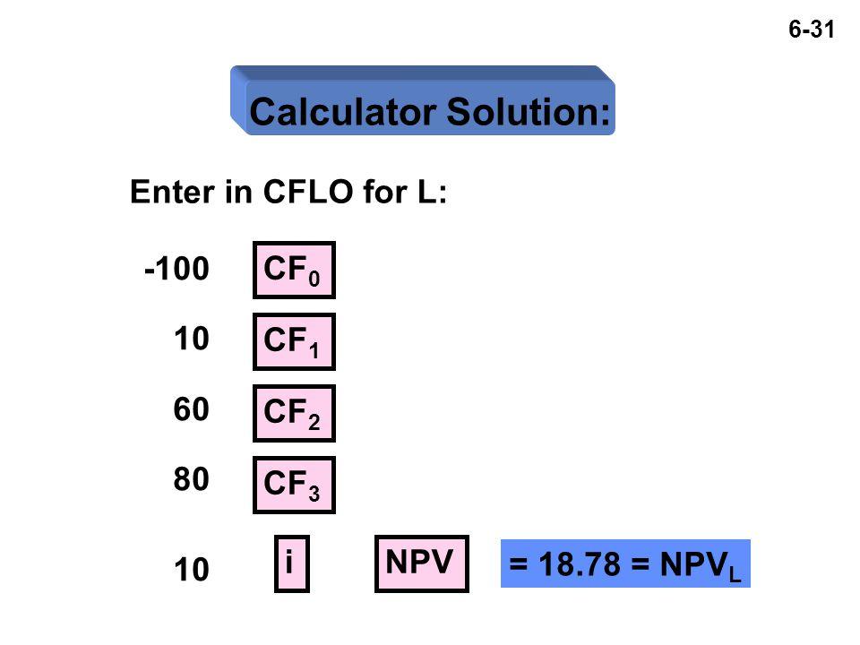 6-31 Calculator Solution: Enter in CFLO for L: -100 10 60 80 10 CF 0 CF 1 NPV CF 2 CF 3 i = 18.78 = NPV L