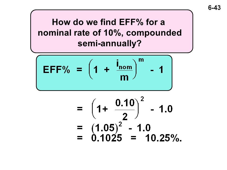 6-43 How do we find EFF% for a nominal rate of 10%, compounded semi-annually?