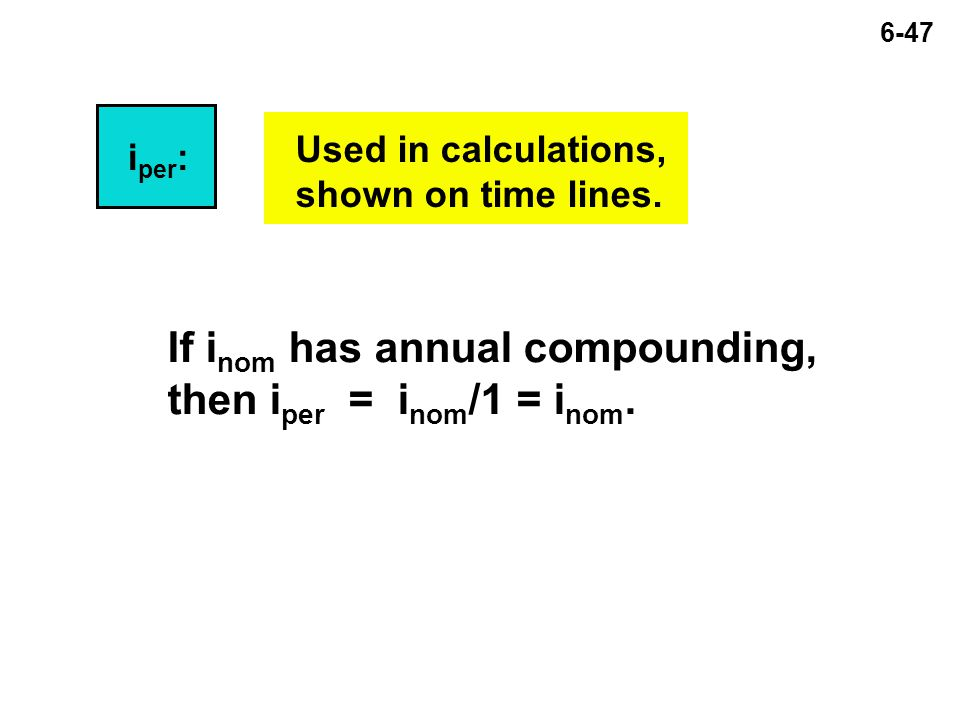 6-47 i per : Used in calculations, shown on time lines.