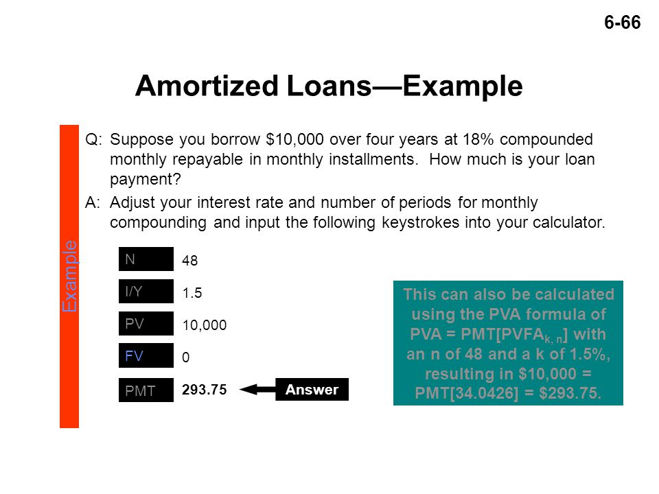 6-66 Amortized Loans—Example Example PMT N PV I/Y 293.75 48 10,000 1.5 0 FV Answer This can also be calculated using the PVA formula of PVA = PMT[PVFA k, n ] with an n of 48 and a k of 1.5%, resulting in $10,000 = PMT[34.0426] = $293.75.