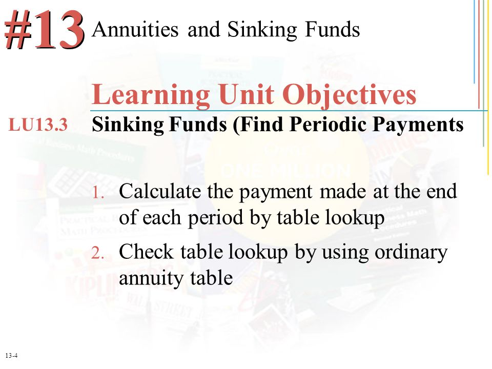 13-15 Future Value of an Annuity Due Find the value of an investment after 3 years for a $3,000 annuity due at 8% N = 3 x 1 = 3 + 1 = 4 R = 8%/1 = 8% 4.5061 x $3,000 $13,518.30 - $3,000 $10,518.30