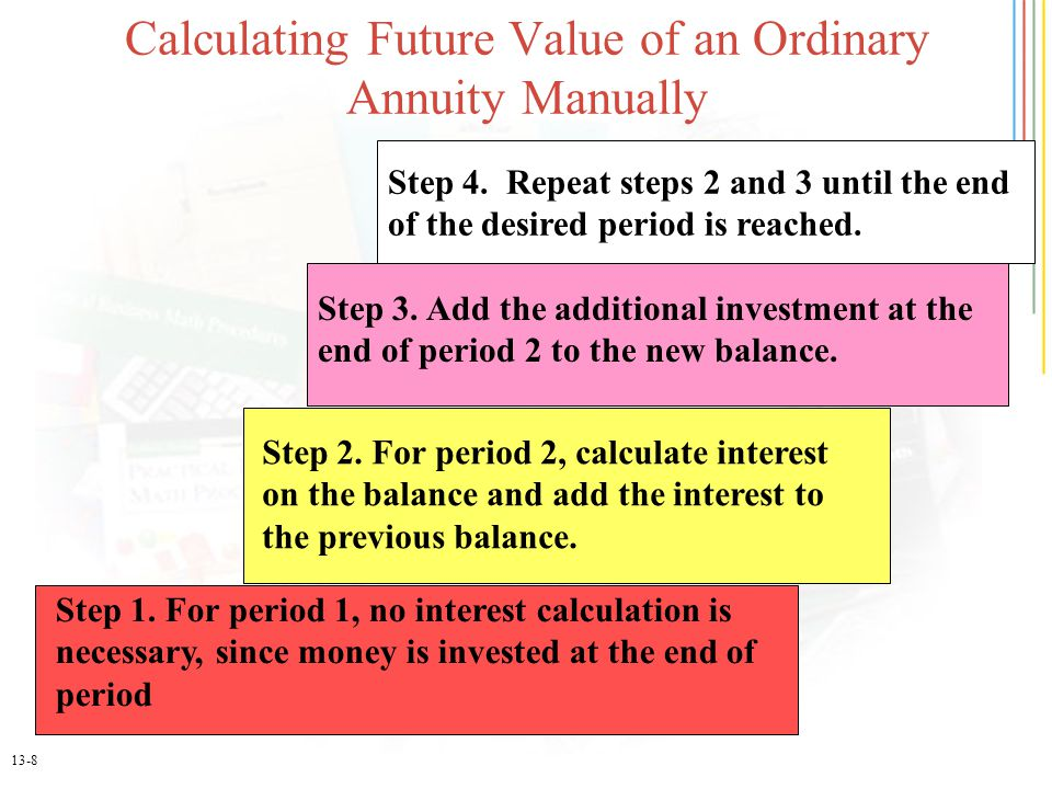 13-8 Step 1. For period 1, no interest calculation is necessary, since money is invested at the end of period Step 2. For period 2, calculate interest