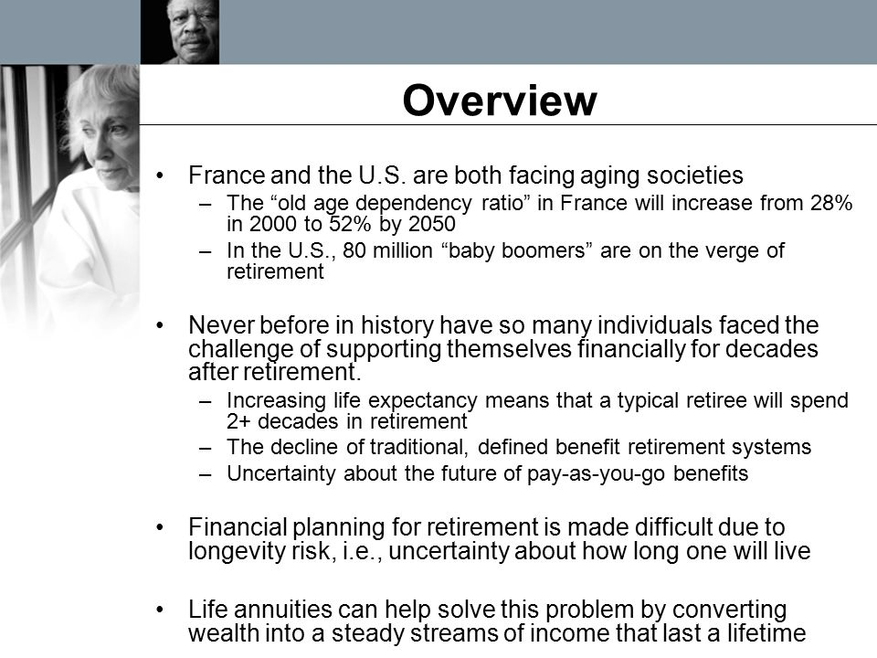 """Overview France and the U.S. are both facing aging societies –The """"old age dependency ratio"""" in France will increase from 28% in 2000 to 52% by 2050 –"""
