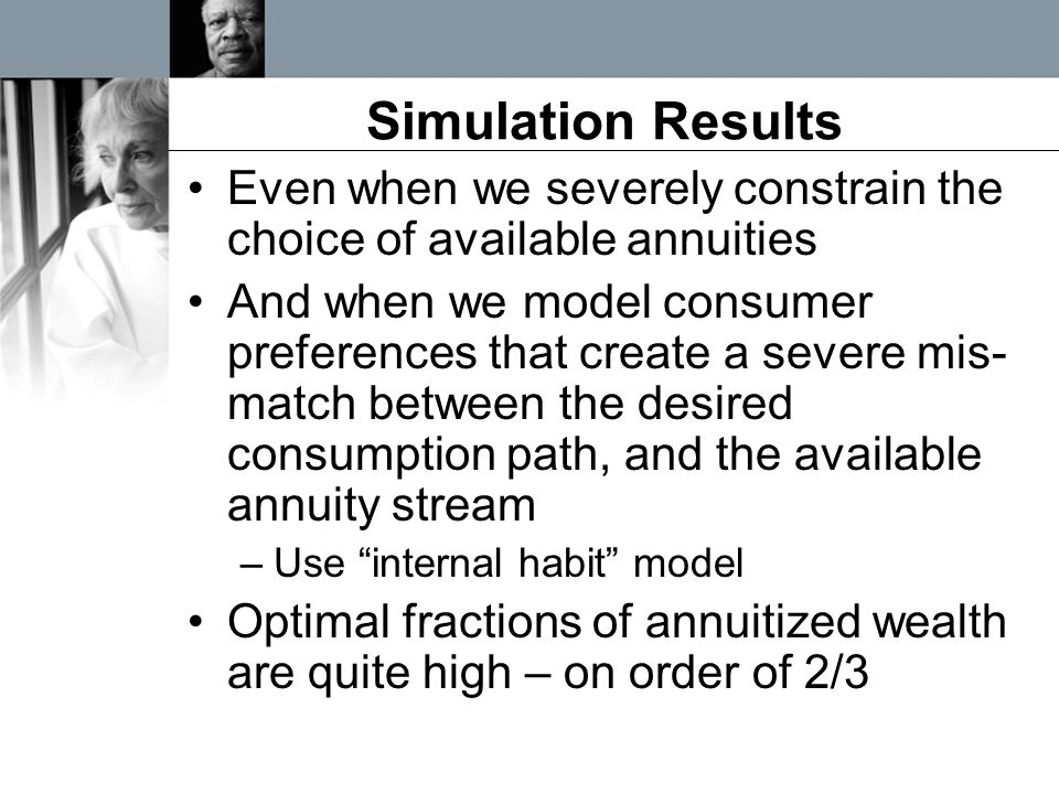 Simulation Results Even when we severely constrain the choice of available annuities And when we model consumer preferences that create a severe mis-