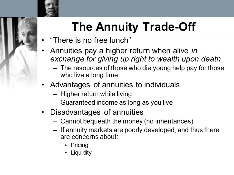 """The Annuity Trade-Off """"There is no free lunch"""" Annuities pay a higher return when alive in exchange for giving up right to wealth upon death –The reso"""