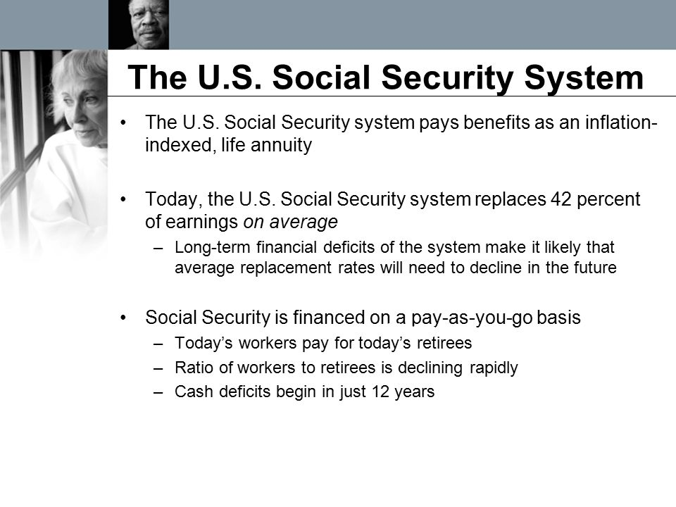 The U.S. Social Security System The U.S. Social Security system pays benefits as an inflation- indexed, life annuity Today, the U.S. Social Security s