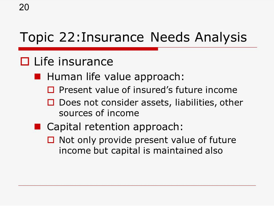 20 Topic 22:Insurance Needs Analysis  Life insurance Human life value approach:  Present value of insured's future income  Does not consider assets