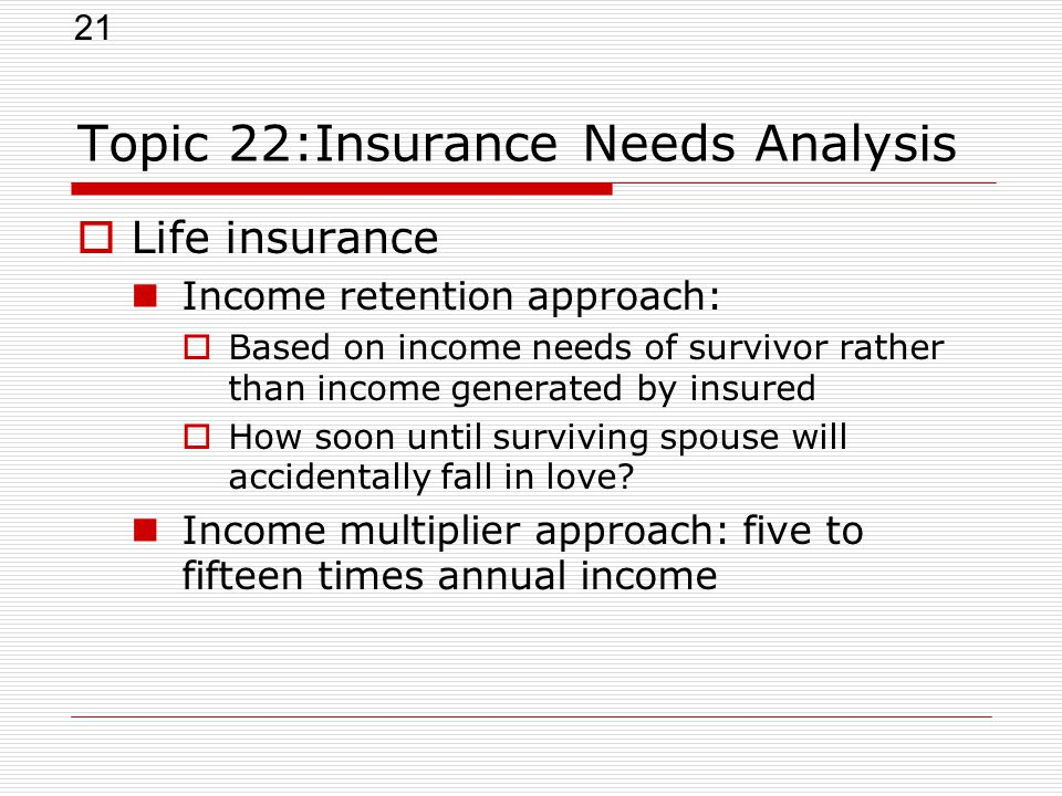 21 Topic 22:Insurance Needs Analysis  Life insurance Income retention approach:  Based on income needs of survivor rather than income generated by i