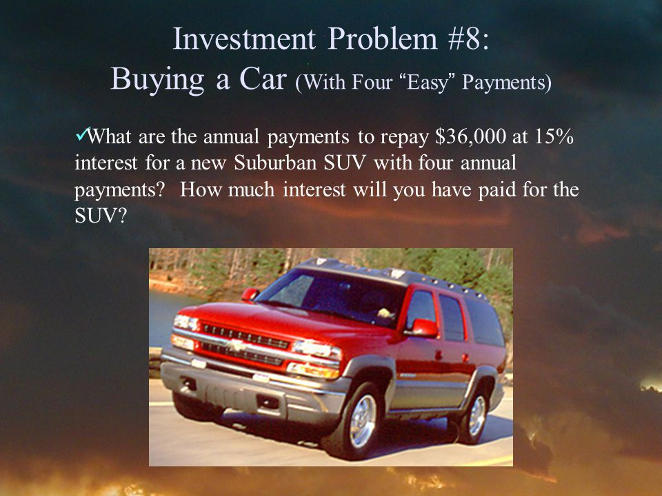 Investment Problem #8: Buying a Car (With Four Easy Payments) What are the annual payments to repay $36,000 at 15% interest for a new Suburban SUV with four annual payments.
