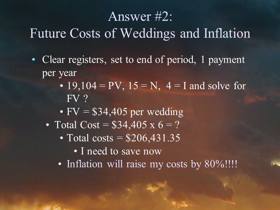Answer #2: Future Costs of Weddings and Inflation Clear registers, set to end of period, 1 payment per year 19,104 = PV, 15 = N, 4 = I and solve for FV .