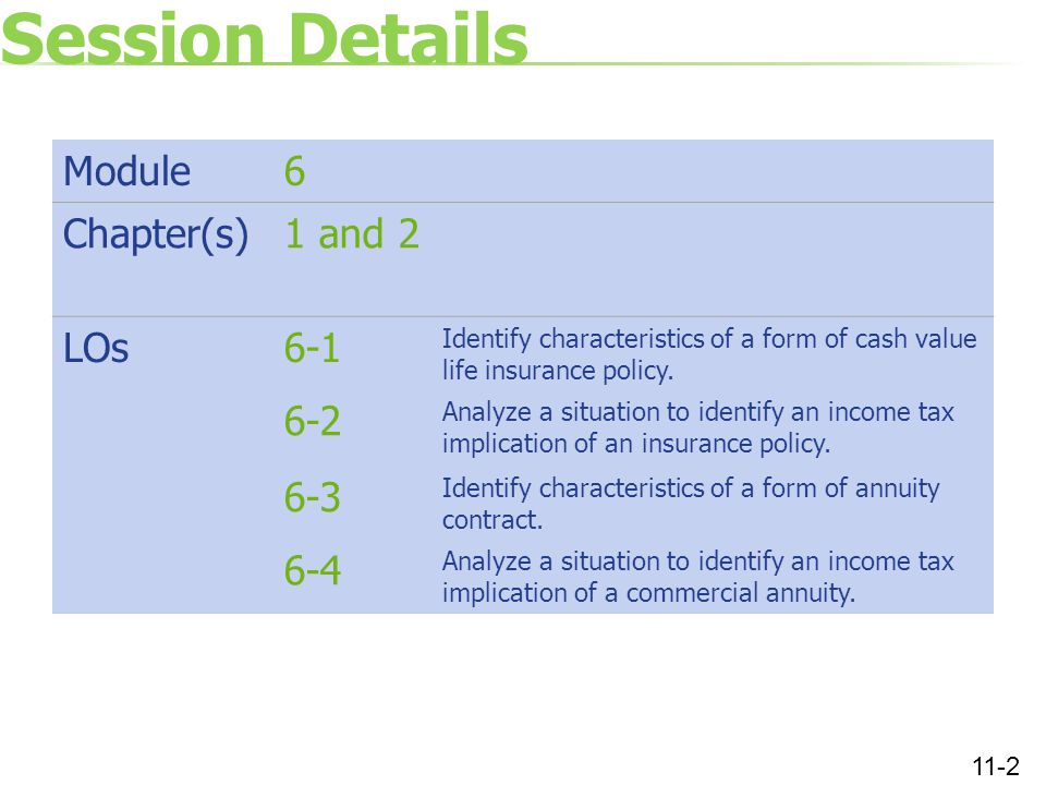 Session Details Module6 Chapter(s)1 and 2 LOs6-1 Identify characteristics of a form of cash value life insurance policy. 6-2 Analyze a situation to id