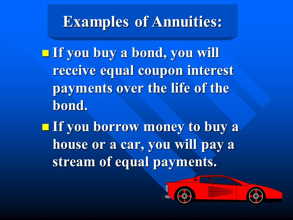 Examples of Annuities: n If you buy a bond, you will receive equal coupon interest payments over the life of the bond. n If you borrow money to buy a