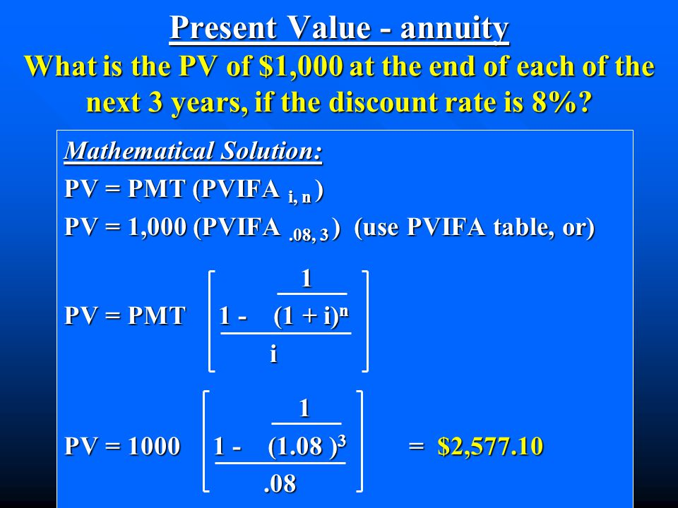 Mathematical Solution: PV = PMT (PVIFA i, n ) PV = 1,000 (PVIFA.08, 3 ) (use PVIFA table, or) 1 1 PV = PMT 1 - (1 + i) n i 1 PV = 1000 1 - (1.08 ) 3 = $2,577.10.08.08 Present Value - annuity What is the PV of $1,000 at the end of each of the next 3 years, if the discount rate is 8%?