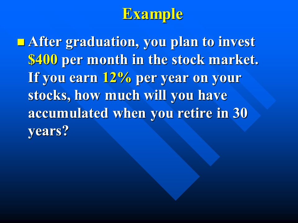 Example n After graduation, you plan to invest $400 per month in the stock market. If you earn 12% per year on your stocks, how much will you have acc