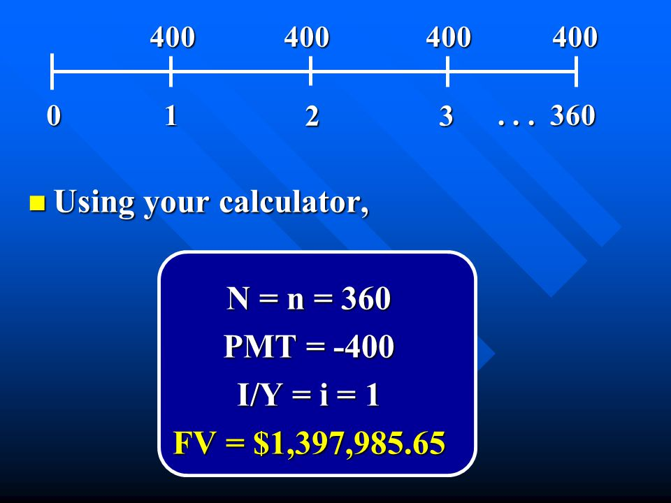 n Using your calculator, N = n = 360 PMT = -400 I/Y = i = 1 FV = $1,397,985.65 01 23... 360 400 400 400 400