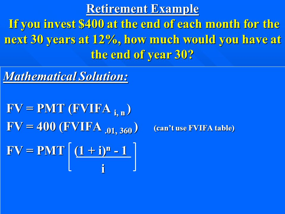 Retirement Example If you invest $400 at the end of each month for the next 30 years at 12%, how much would you have at the end of year 30.