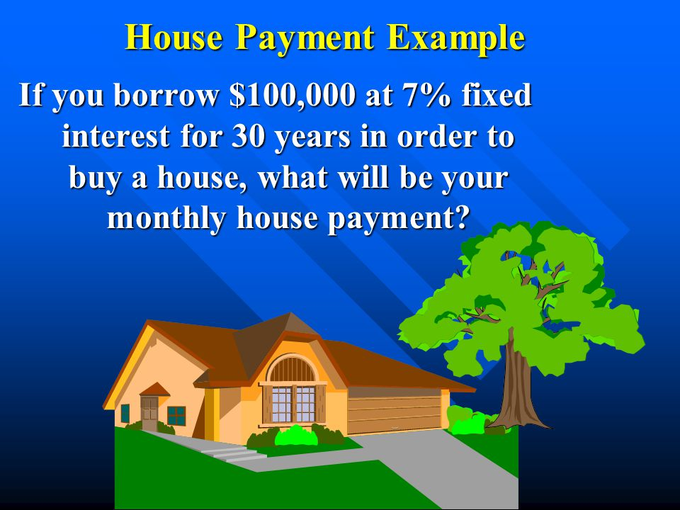 If you borrow $100,000 at 7% fixed interest for 30 years in order to buy a house, what will be your monthly house payment?