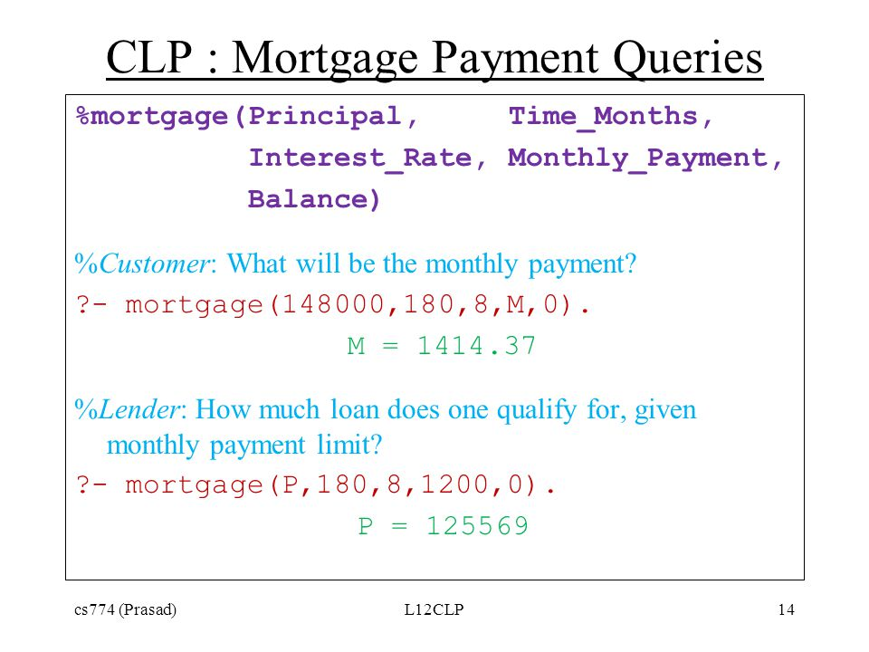 CLP : Mortgage Payment Queries %mortgage(Principal,Time_Months, Interest_Rate,Monthly_Payment, Balance) %Customer: What will be the monthly payment.