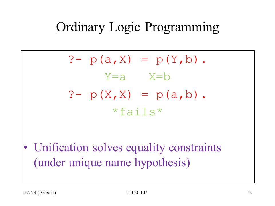 Ordinary Logic Programming ?- p(a,X) = p(Y,b). Y=a X=b ?- p(X,X) = p(a,b). *fails* Unification solves equality constraints (under unique name hypothes