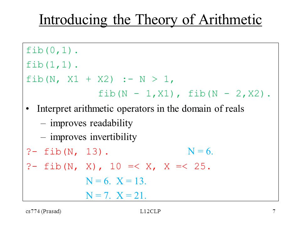 Introducing the Theory of Arithmetic fib(0,1). fib(1,1).