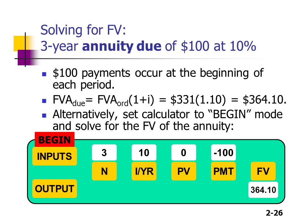 2-26 Solving for FV: 3-year annuity due of $100 at 10% $100 payments occur at the beginning of each period. FVA due = FVA ord (1+i) = $331(1.10) = $36