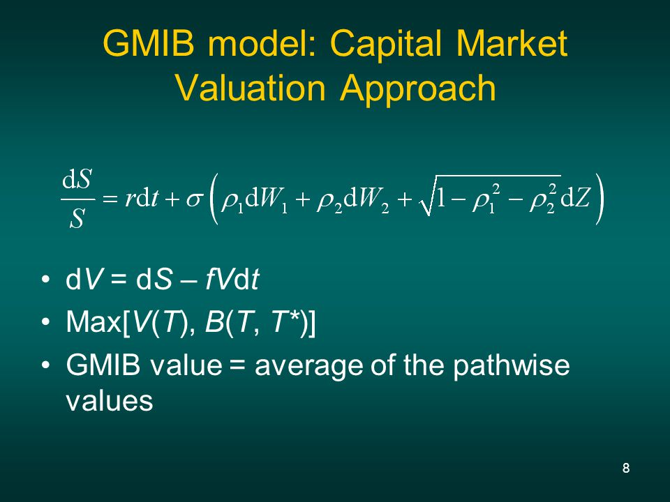19 Equity/rate correlations and cost of guarantees Correlations of equity returns to the yield curve movement can be incorporated This approach is important to GMIB valuation because it focuses on the worst scenario: steep yield curve, falling rates, and underperforming equity market