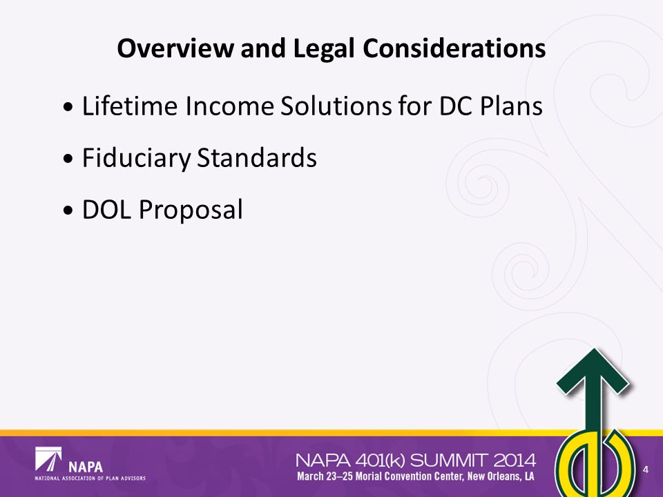 Overview and Legal Considerations Lifetime Income Solutions for DC Plans Fiduciary Standards DOL Proposal 4