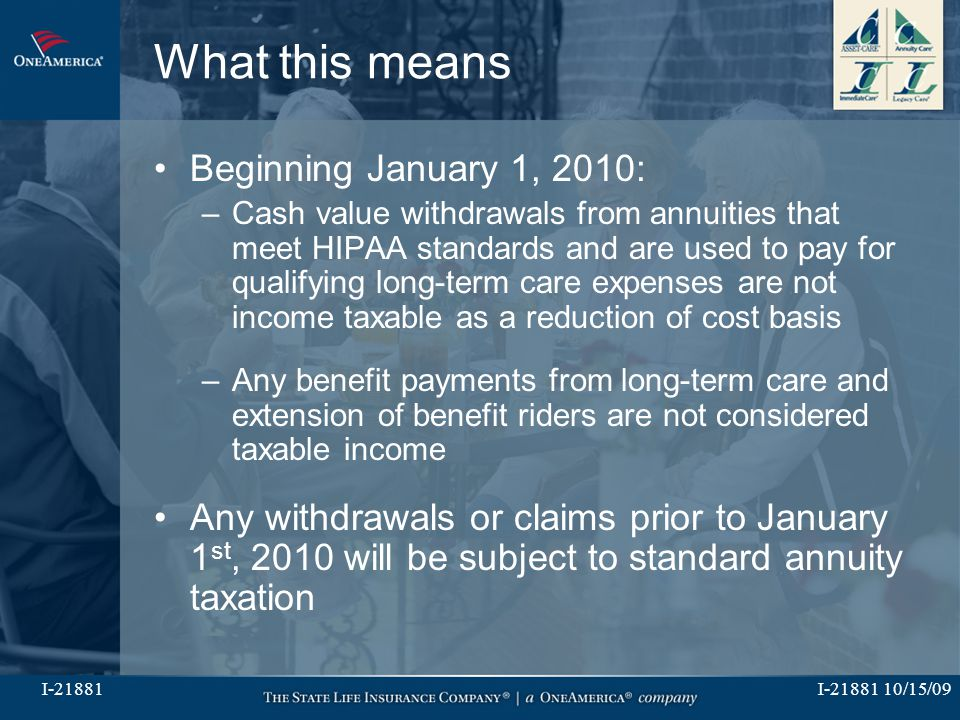 I-21881 10/15/09I-21881 What this means Beginning January 1, 2010: –Cash value withdrawals from annuities that meet HIPAA standards and are used to pa