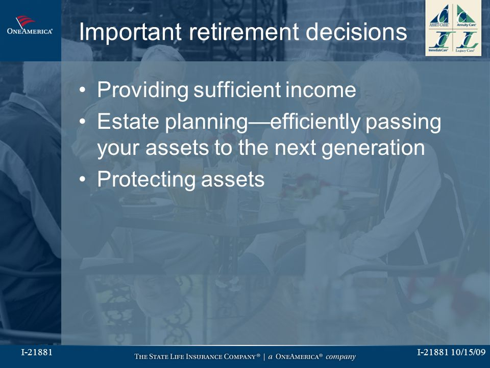 I-21881 10/15/09I-21881 Important retirement decisions Providing sufficient income Estate planning—efficiently passing your assets to the next generat