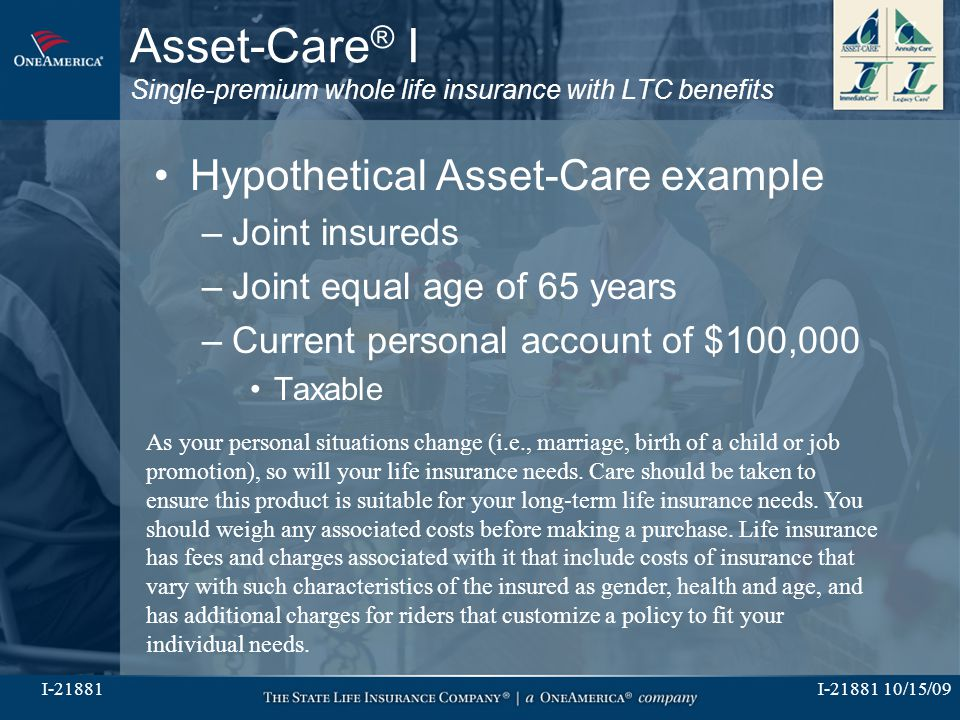 I-21881 10/15/09I-21881 Asset-Care ® I Single-premium whole life insurance with LTC benefits Hypothetical Asset-Care example –Joint insureds –Joint equal age of 65 years –Current personal account of $100,000 Taxable As your personal situations change (i.e., marriage, birth of a child or job promotion), so will your life insurance needs.