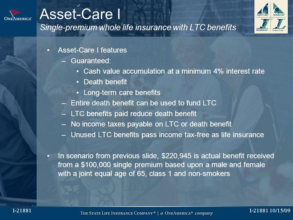 I-21881 10/15/09I-21881 Asset-Care I Single-premium whole life insurance with LTC benefits Asset-Care I features –Guaranteed: Cash value accumulation