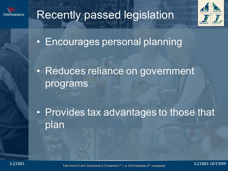 I-21881 10/15/09I-21881 Recently passed legislation Encourages personal planning Reduces reliance on government programs Provides tax advantages to th