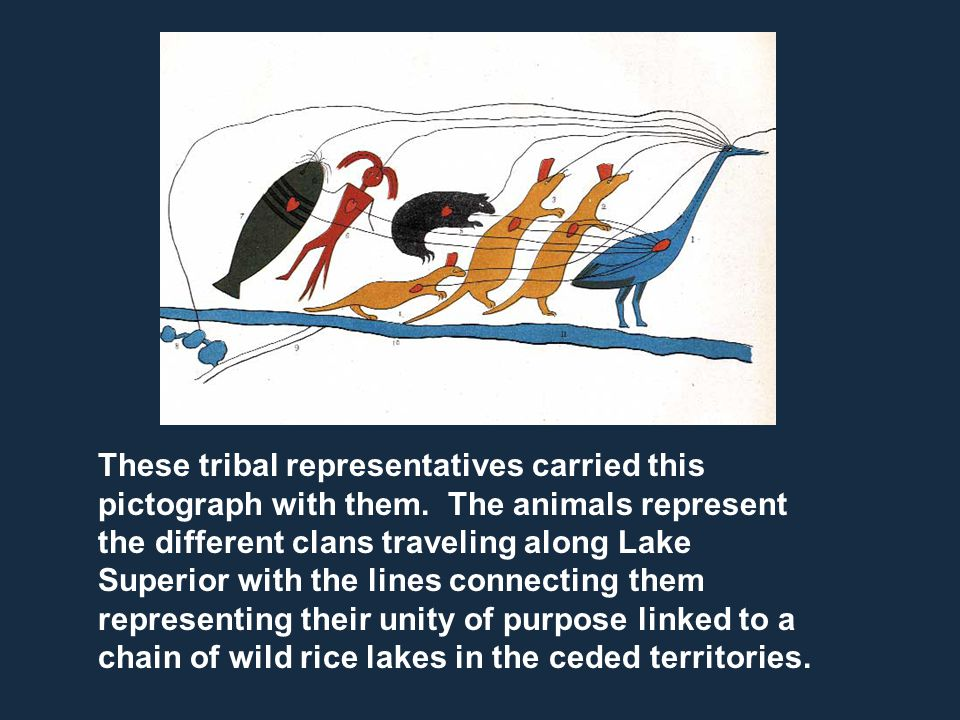 These tribal representatives carried this pictograph with them. The animals represent the different clans traveling along Lake Superior with the lines