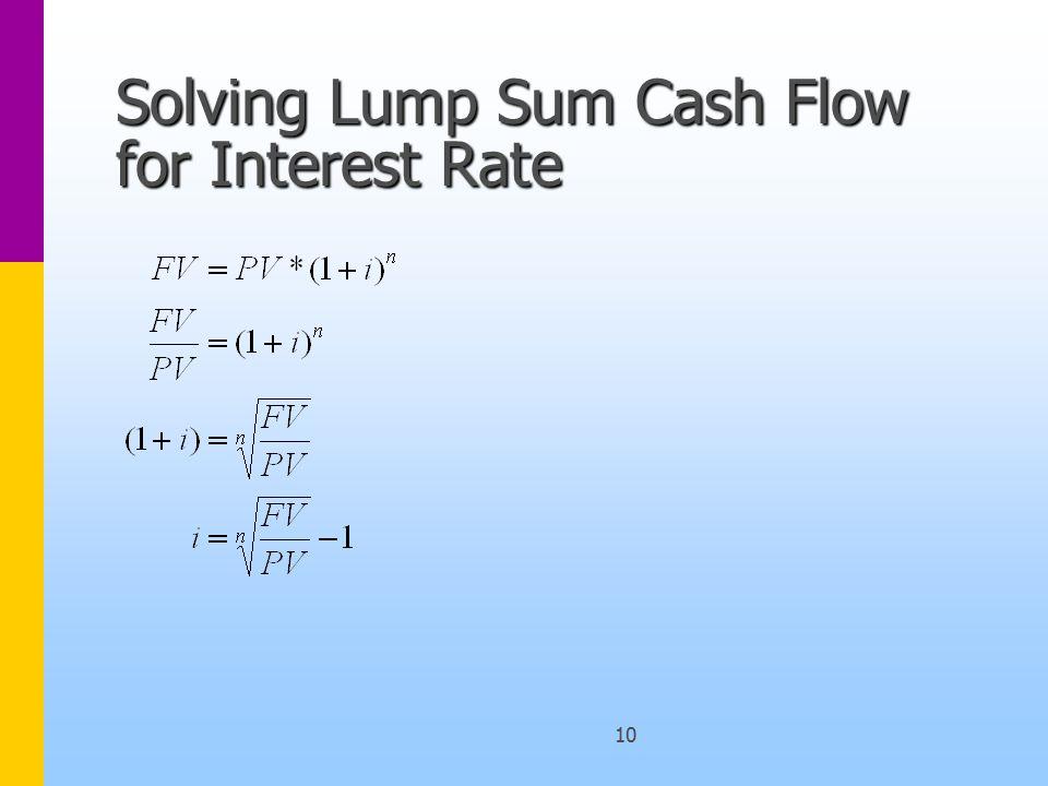 10 Solving Lump Sum Cash Flow for Interest Rate