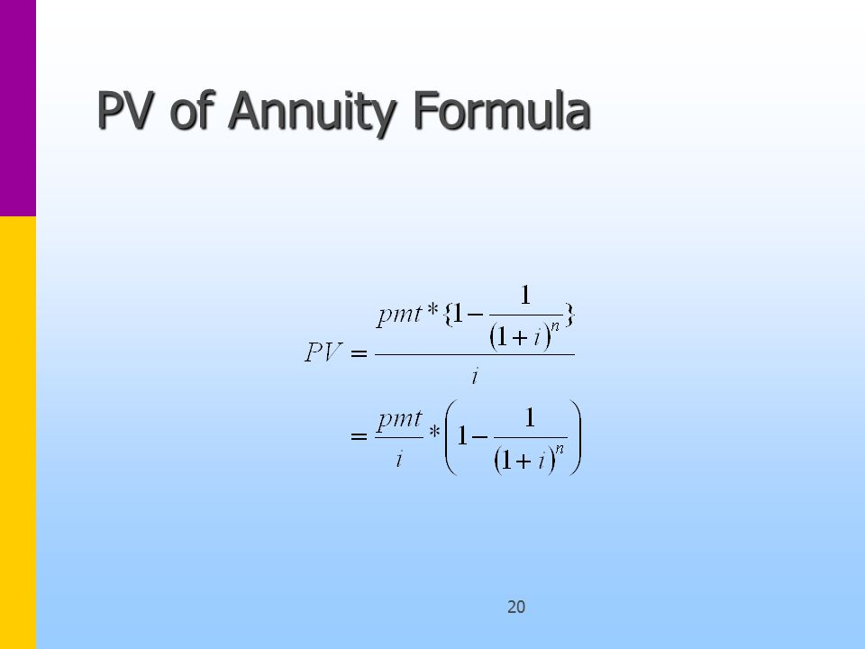 20 PV of Annuity Formula