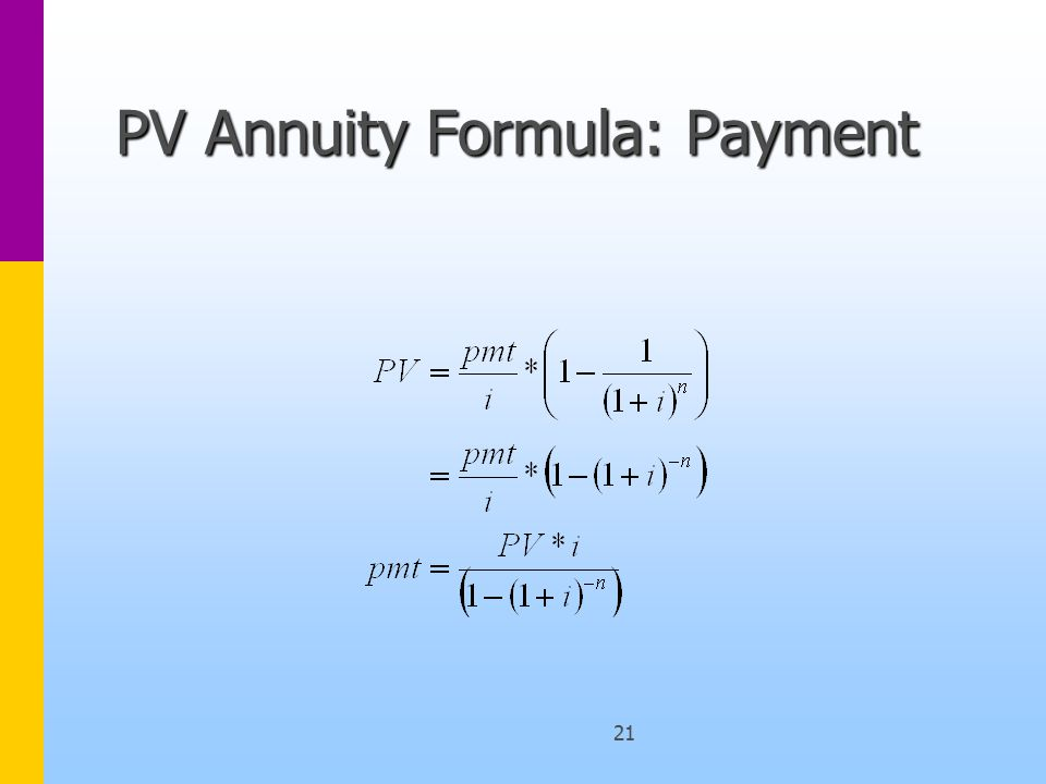 21 PV Annuity Formula: Payment