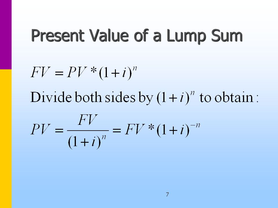18 Assumptions Regular Annuity –the first cash flow will occur exactly one period form now –all subsequent cash flows are separated by exactly one period –all periods are of equal length –the term structure of interest is flat –all cash flows have the same (nominal) value –the present value of a sum of present values is the sum of the present values