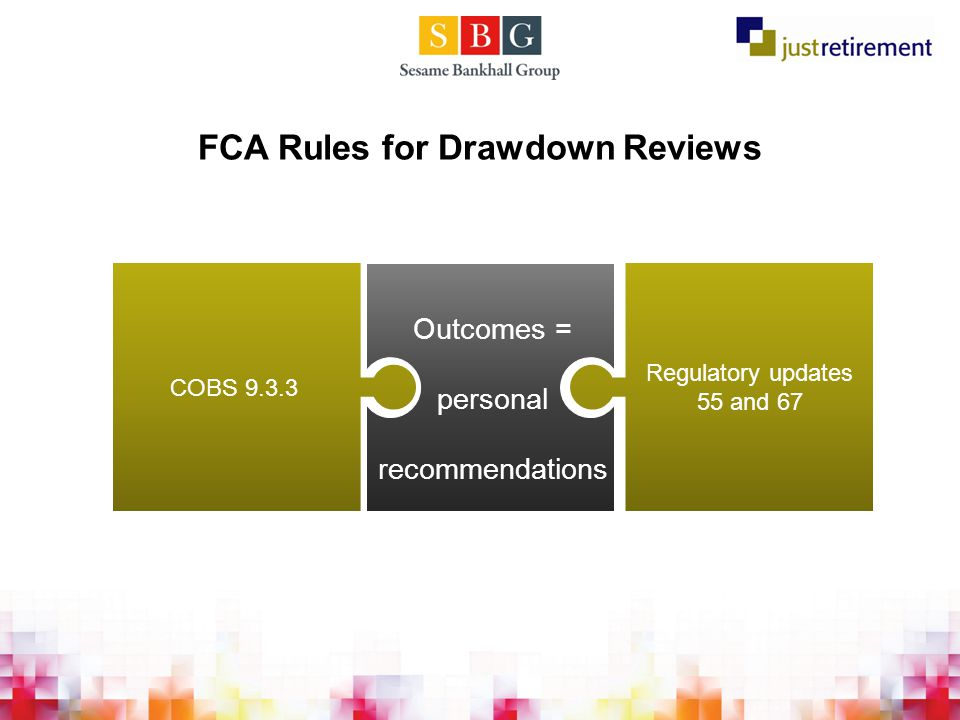 FCA Rules for Drawdown Reviews COBS 9.3.3 Outcomes = personal recommendations Regulatory updates 55 and 67