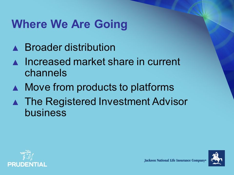 Where We Are Going ▲ Broader distribution ▲ Increased market share in current channels ▲ Move from products to platforms ▲ The Registered Investment Advisor business